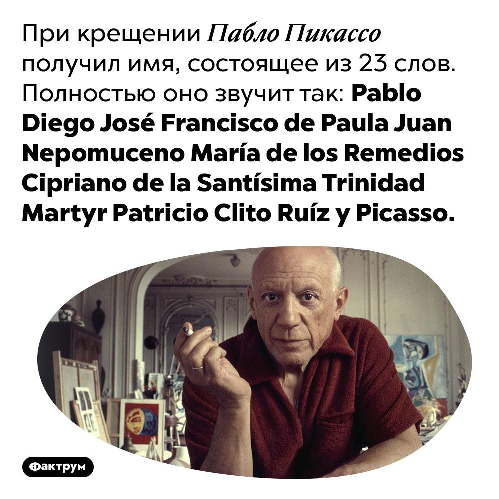 При крещении Пабло Пикассо получил имя, состоящее из 23 слов. Полностью оно звучит так: Pablo Diego José Francisco de Paula Juan Nepomuceno María de los Remedios Cipriano de la Santísima Trinidad Martyr Patricio Clito Ruíz y Picasso.
