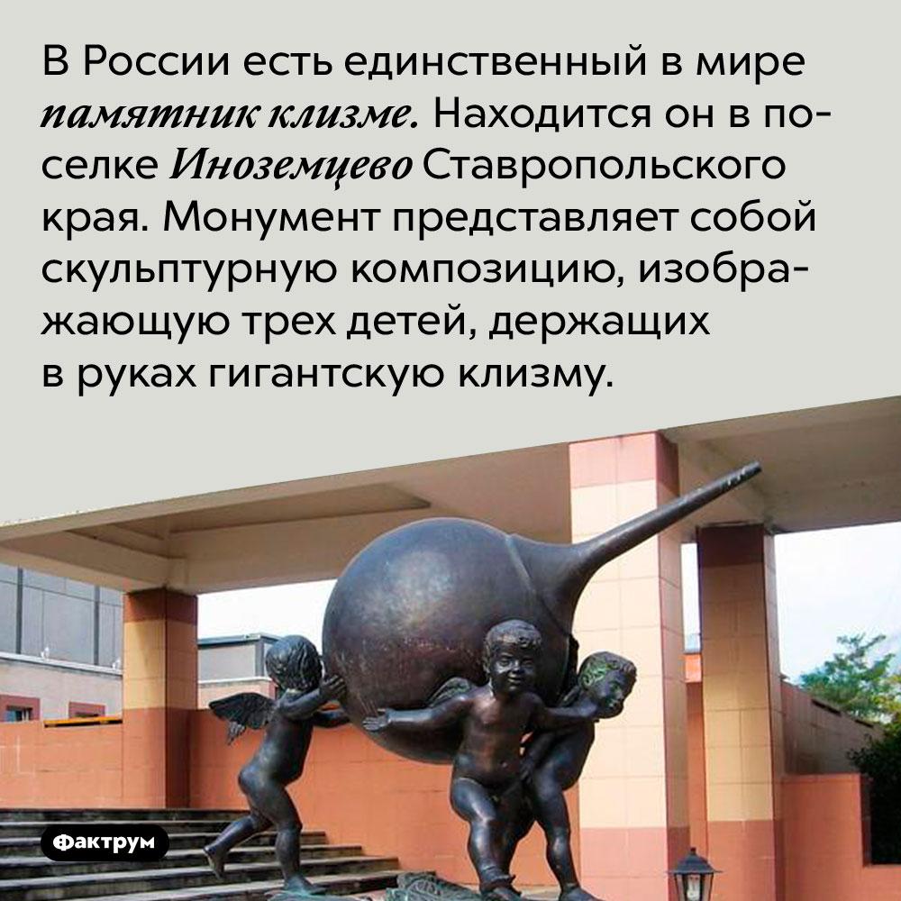 В России есть единственный в мире памятник клизме. Находится он впоселке Иноземцево Ставропольского края. Монумент представляет собой скульптурную композицию, изображающую трех детей, держащих вруках гигантскую клизму.