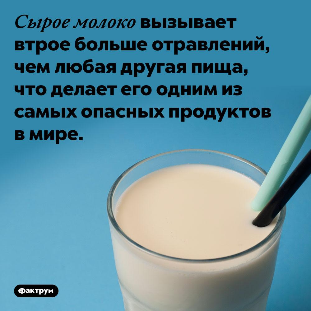 Сырое молоко вызывает втрое больше отравлений, чем любая другая пища, что делает его одним из самых опасных продуктов в мире.