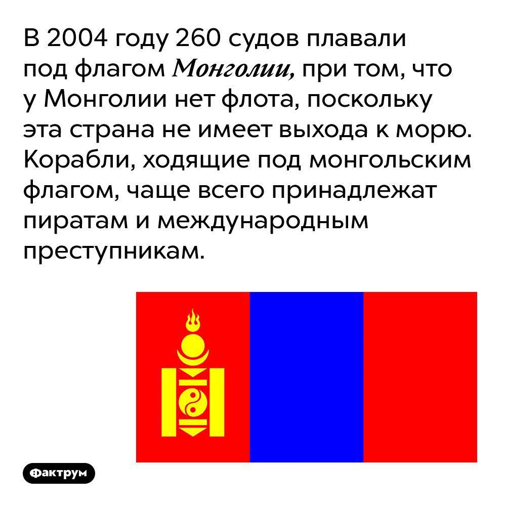 В 2004 году 260 судов плавали под флагом Монголии, при том, что у Монголии нет флота, поскольку эта страна не имеет выхода к морю. Корабли, ходящие под монгольским флагом, чаще всего принадлежат пиратам и международным преступникам.
