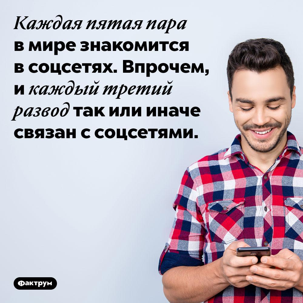 Каждая пятая пара в мире знакомится в соцсетях. Впрочем, и каждый третий развод так или иначе связан с соцсетями.
