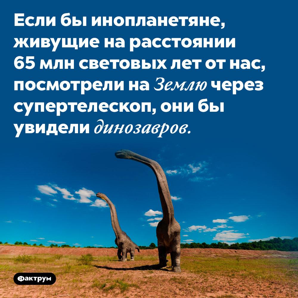 Если бы инопланетяне, живущие на расстоянии 65 млн световых лет от нас, посмотрели на Землю через супертелескоп, они бы увидели динозавров.