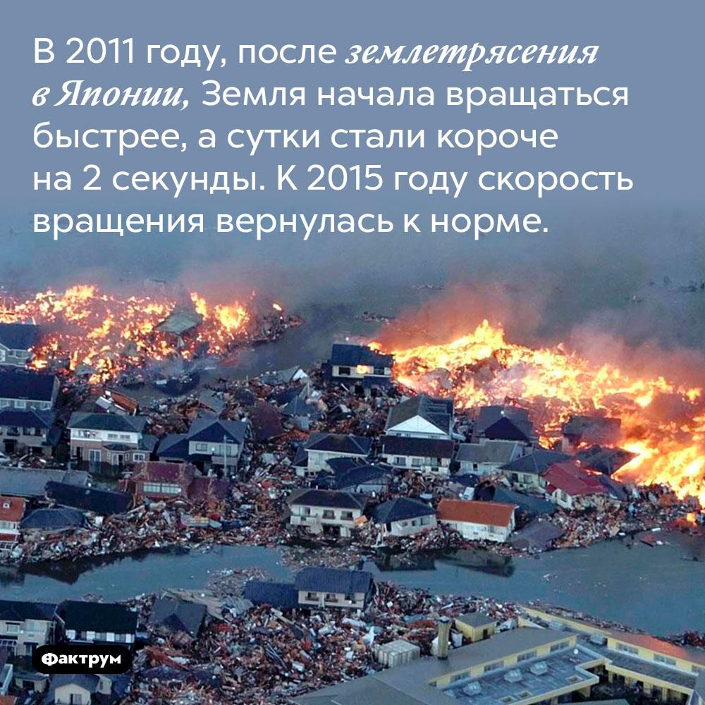 В 2011 году, после землетрясения в Японии, Земля начала вращаться быстрее, а сутки стали короче на 2 секунды. К 2015 году скорость вращения вернулась к норме.