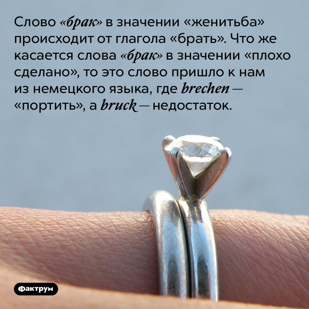 Слово «брак» в значении «женитьба» происходит от глагола «брать». Что же касается слова «брак» в значении «плохо сделано», то это слово пришло к нам из немецкого языка, где brechen — «портить», а bruck — недостаток.