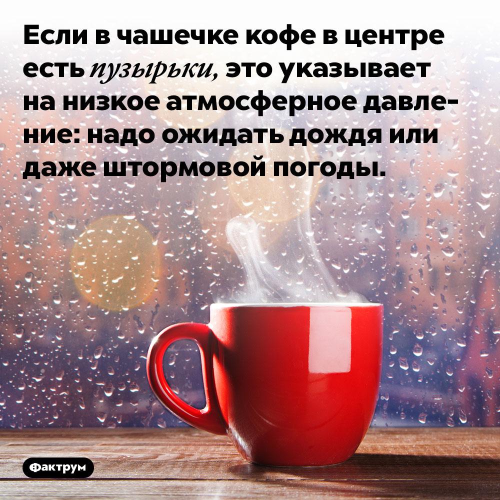 Если в чашечке кофе в центре есть пузырьки, это указывает на низкое атмосферное давление: надо ожидать дождя или даже штормовой погоды.