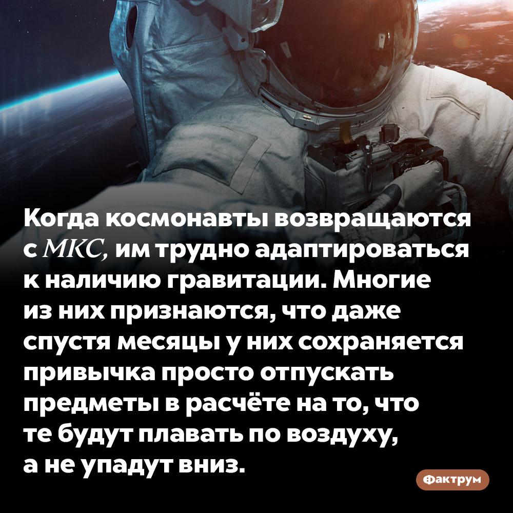 Космонавтам сложно привыкнуть к гравитации. Когда космонавты возвращаются с МКС, им трудно адаптироваться к наличию гравитации. Многие из них признаются, что даже спустя месяцы у них сохраняется привычка просто отпускать предметы в расчёте на то, что те будут плавать по воздуху, а не упадут вниз.