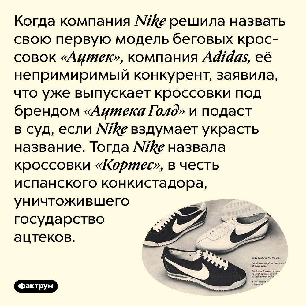 Как Nike «подколола» Adidas названием кроссовок. Когда компания Nike решила назвать свою первую модель беговых кроссовок «Ацтек», компания Adidas, её непримиримый конкурент, заявила, что уже выпускает кроссовки под брендом «Ацтека Голд» и подаст в суд, если Nike вздумает украсть название. Тогда Nike назвала кроссовки «Кортес», в честь испанского конкистадора, уничтожившего государство ацтеков.