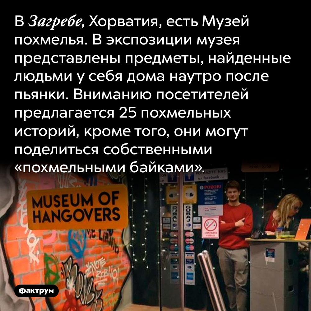 В Загребе, Хорватия, есть Музей похмелья. В экспозиции музея представлены предметы, найденные людьми у себя дома наутро после пьянки. Вниманию посетителей предлагается 25 похмельных историй, кроме того, они могут поделиться собственными «похмельными байками».