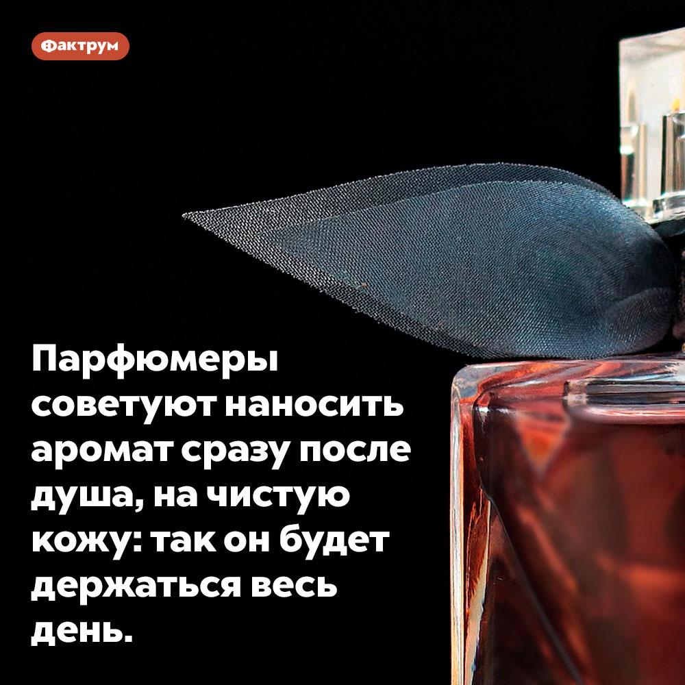 Парфюмеры советуют наносить аромат сразу после душа, на чистую кожу. Так он будет держаться весь день.