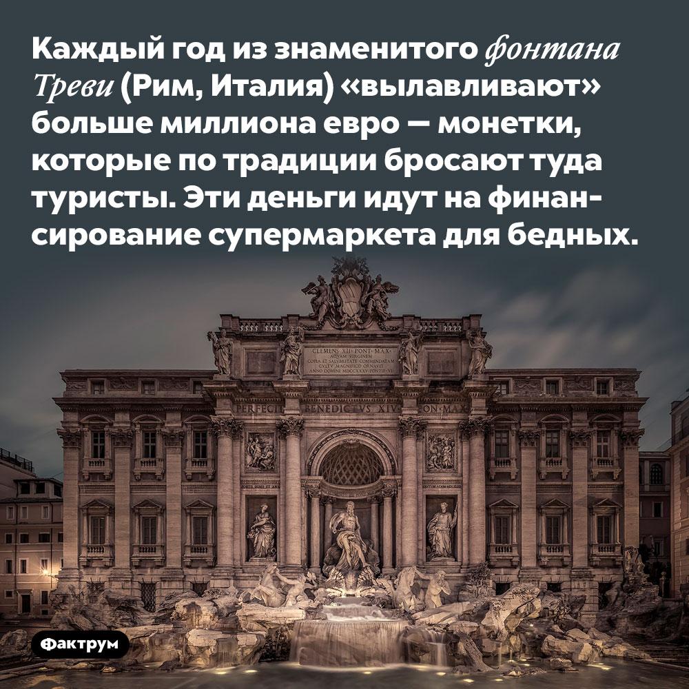 Каждый год иззнаменитого фонтана Треви (Рим, Италия) «вылавливают» больше миллиона евро. Монетки, которые по традиции бросают туда туристы. Эти деньги идут на финансирование супермаркета для бедных.