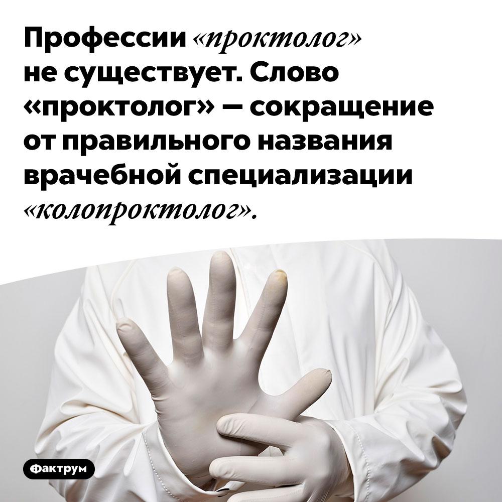 Профессии «проктолог» несуществует. Слово «проктолог» — сокращение от правильного названия врачебной специализации «колопроктолог».