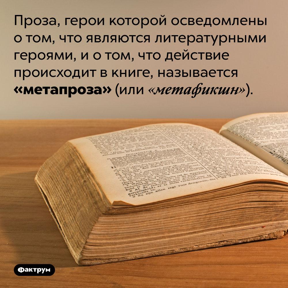 Что такое «метапроза»?. Проза, герои которой осведомлены о том, что являются литературными героями, и о том, что действие происходит в книге, называется «метапроза» (или «метафикшн»).