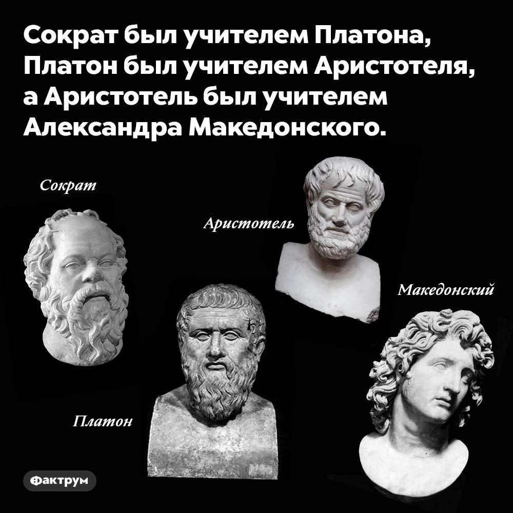 У великих древних греков были великие учителя. Сократ был учителем Платона, Платон был учителем Аристотеля, а Аристотель был учителем Александра Македонского.