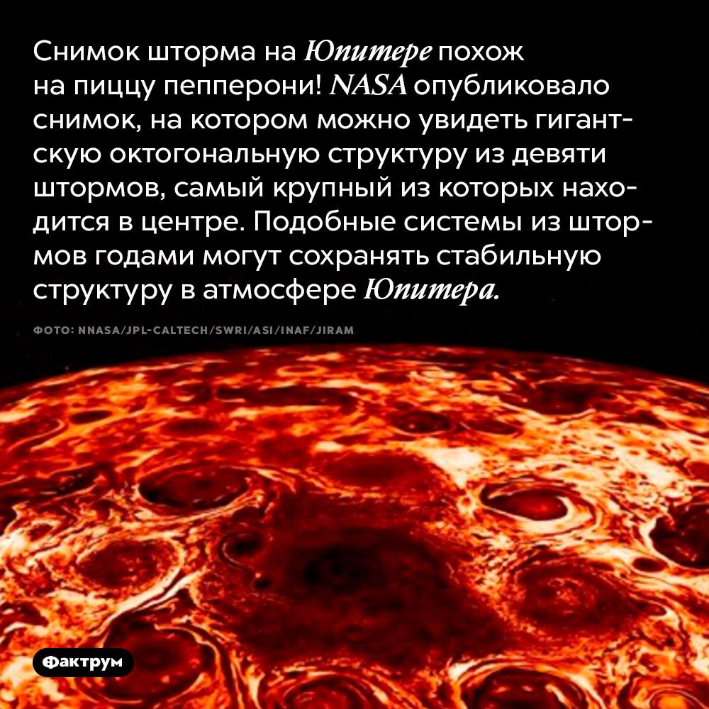 Снимок шторма наЮпитере похож напиццу пепперони. NASA опубликовало снимок, на котором можно увидеть гигантскую октогональную структуру из девяти штормов, самый крупный из которых находится в центре. Подобные системы из штормов годами могут сохранять стабильную структуру в атмосфере Юпитера.
