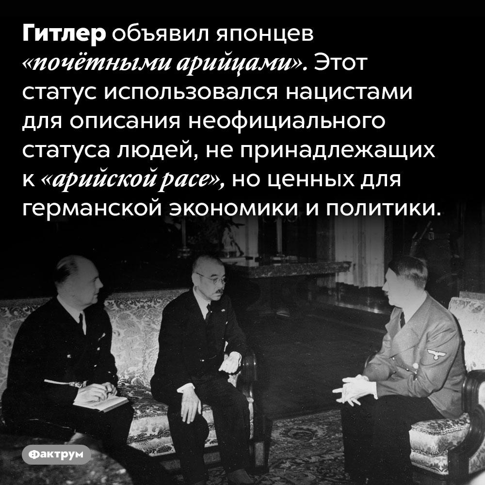 Нацистская Германия причисляла японцев к«почётным арийцам». Гитлер объявил японцев «почётными арийцами». Этот статус использовался нацистами для описания неофициального статуса людей, не принадлежащих к «арийской расе», но ценных для германской экономики и политики.