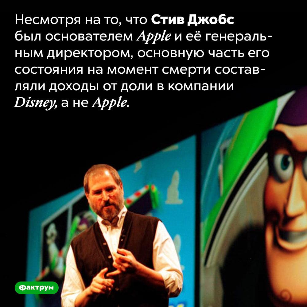 Стив Джобс больше зарабатывал наDisney, ане наApple. Несмотря на то, что Стив Джобс был основателем Apple и её генеральным директором, основную часть его состояния на момент смерти составляли доходы от доли в компании Disney, а не Apple.