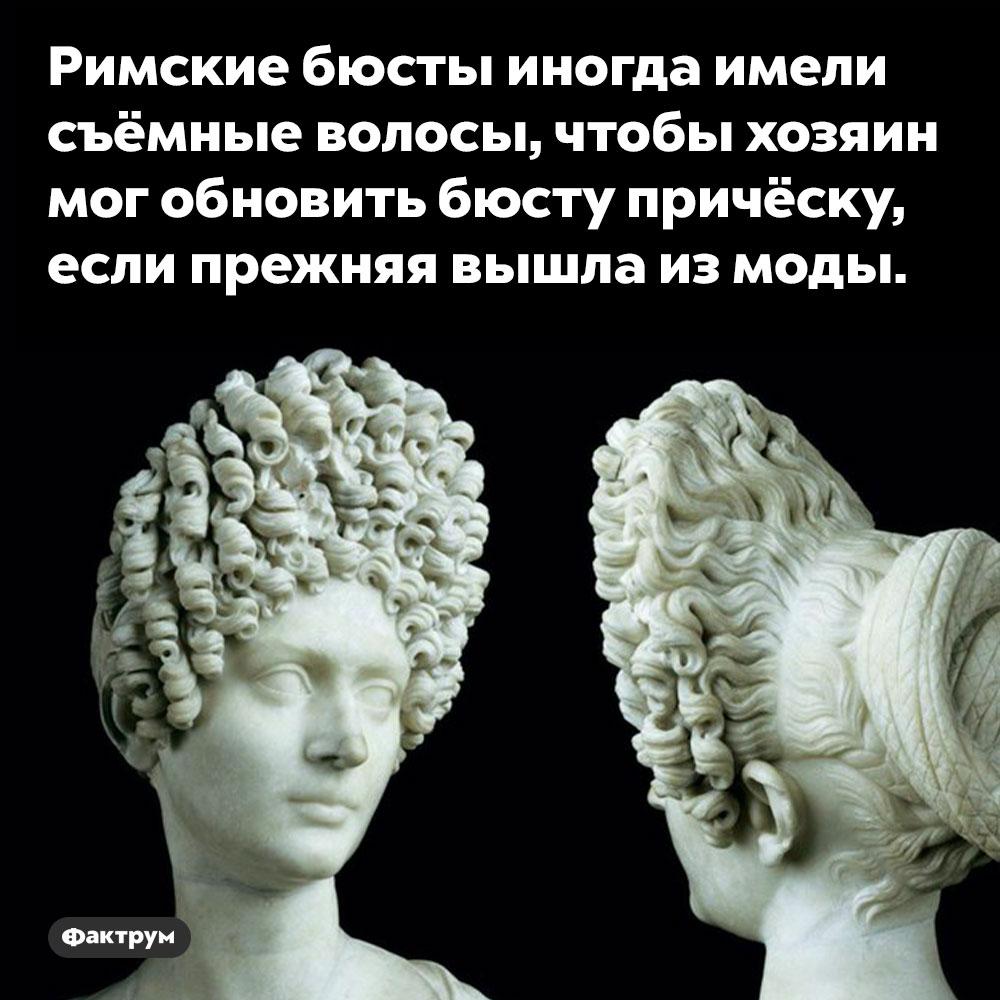 Некоторым римским бюстам можно было менять причёски. Римские бюсты иногда имели съёмные волосы, чтобы хозяин мог обновить бюсту причёску, если прежняя вышла из моды.