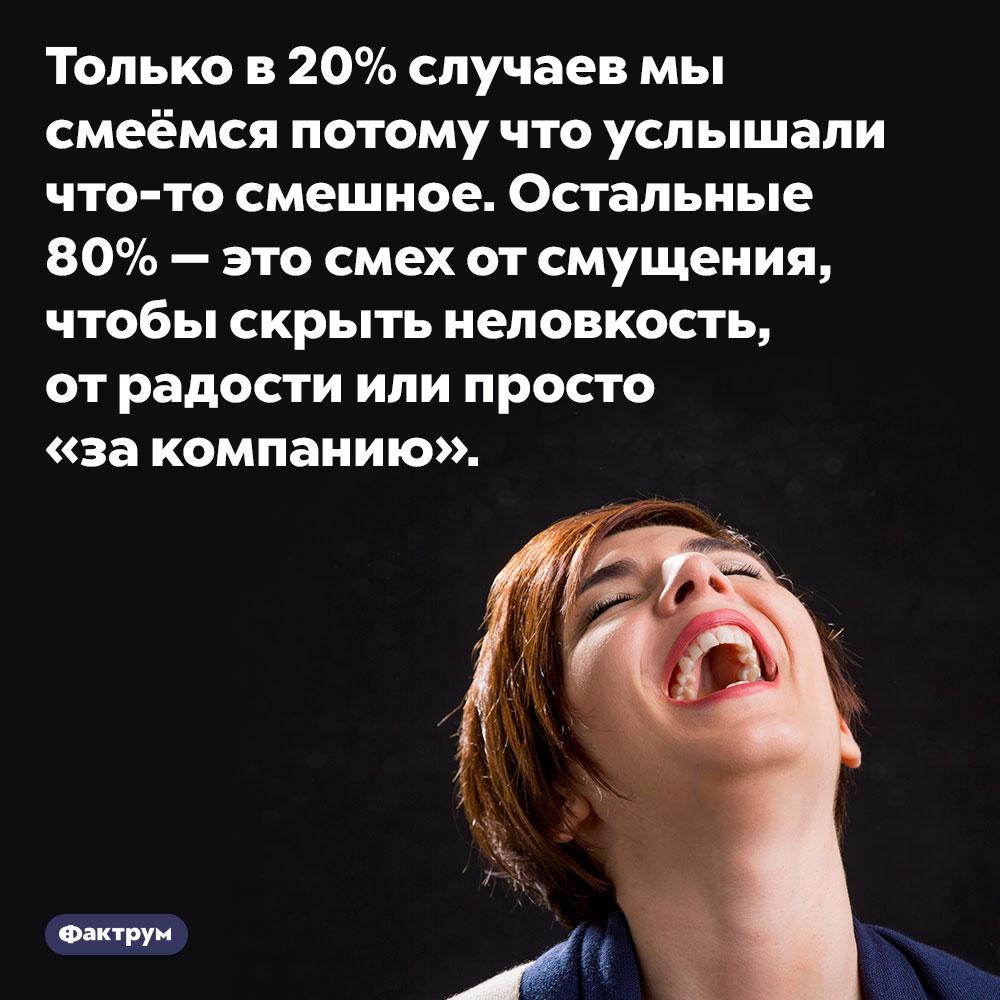 Только в20%случаев мы смеёмся потому что услышали что-то смешное. Остальные 80% —это смех от смущения, чтобы скрыть неловкость, от радости или просто «за компанию».