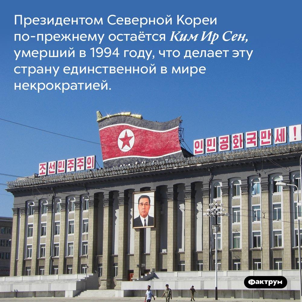 Президент Северной Кореи. Президентом Северной Кореи по-прежнему остаётся Ким Ир Сен, умерший в 1994 году, что делает эту страну единственной в мире некрократией.