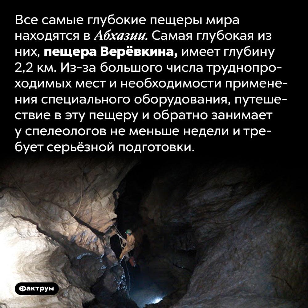 Самая глубокая пещера наЗемле находится вАбхазии. Все самые глубокие пещеры мира находятся в Абхазии. Самая глубокая из них, пещера Верёвкина, имеет глубину 2,2 км. Из-за большого числа труднопроходимых мест и необходимости применения специального оборудования, путешествие в эту пещеру и обратно занимает у спелеологов не меньше недели и требует серьёзной подготовки.