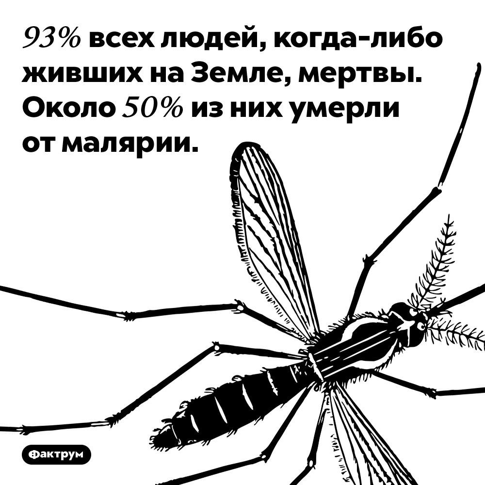 Половина людей завсю историю человечества умерла отмалярии. 93% всех людей, когда-либо живших на Земле, мертвы. Около 50% из них умерли от малярии.