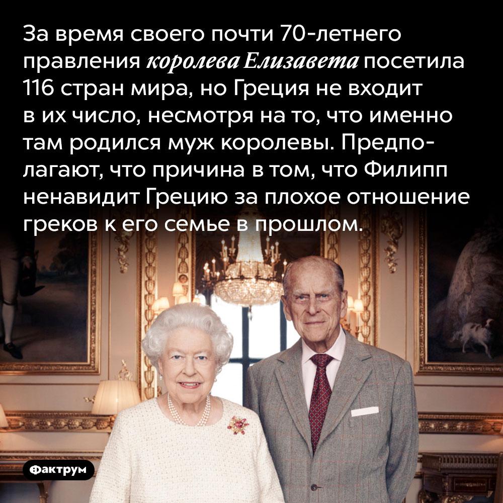 Елизавета Вторая небыла вГреции. За время своего почти 70-летнего правления королева Елизавета посетила 116 стран мира, но Греция не входит в их число, несмотря на то, что именно там родился муж королевы. Предполагают, что причина в том, что Филипп ненавидит Грецию за плохое отношение греков к его семье в прошлом.