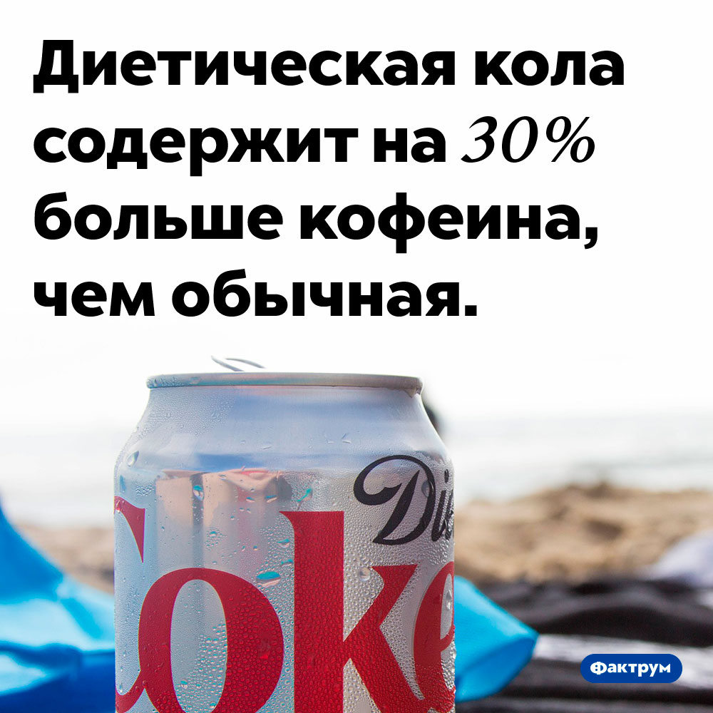 Вдиетической коле больше кофеина. Диетическая кола содержит на 30% больше кофеина, чем обычная.