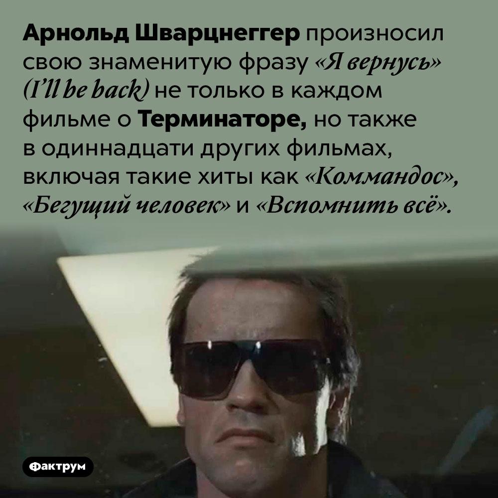Арнольд Шварцнеггер произносил «Я вернусь» вомножестве фильмов. Арнольд Шварцнеггер произносил свою знаменитую фразу «Я вернусь» (I'll be back) не только в каждом фильме о Терминаторе, но также в одиннадцати других фильмах, включая такие хиты как «Коммандос», «Бегущий человек» и «Вспомнить всё».