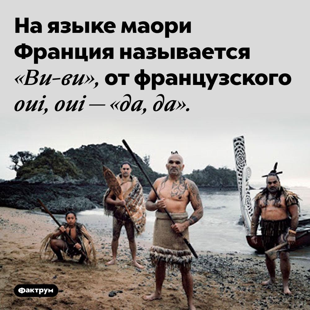 Маори называют Францию «Ви-ви». На языке маори Франция называется «Ви-ви», от французского oui, oui — «да, да».