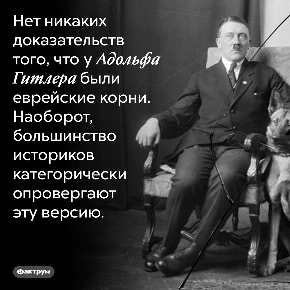 Гитлер небыл евреем. Нет никаких доказательств того, что у Адольфа Гитлера были еврейские корни. Наоборот, большинство историков категорически опровергают эту версию.