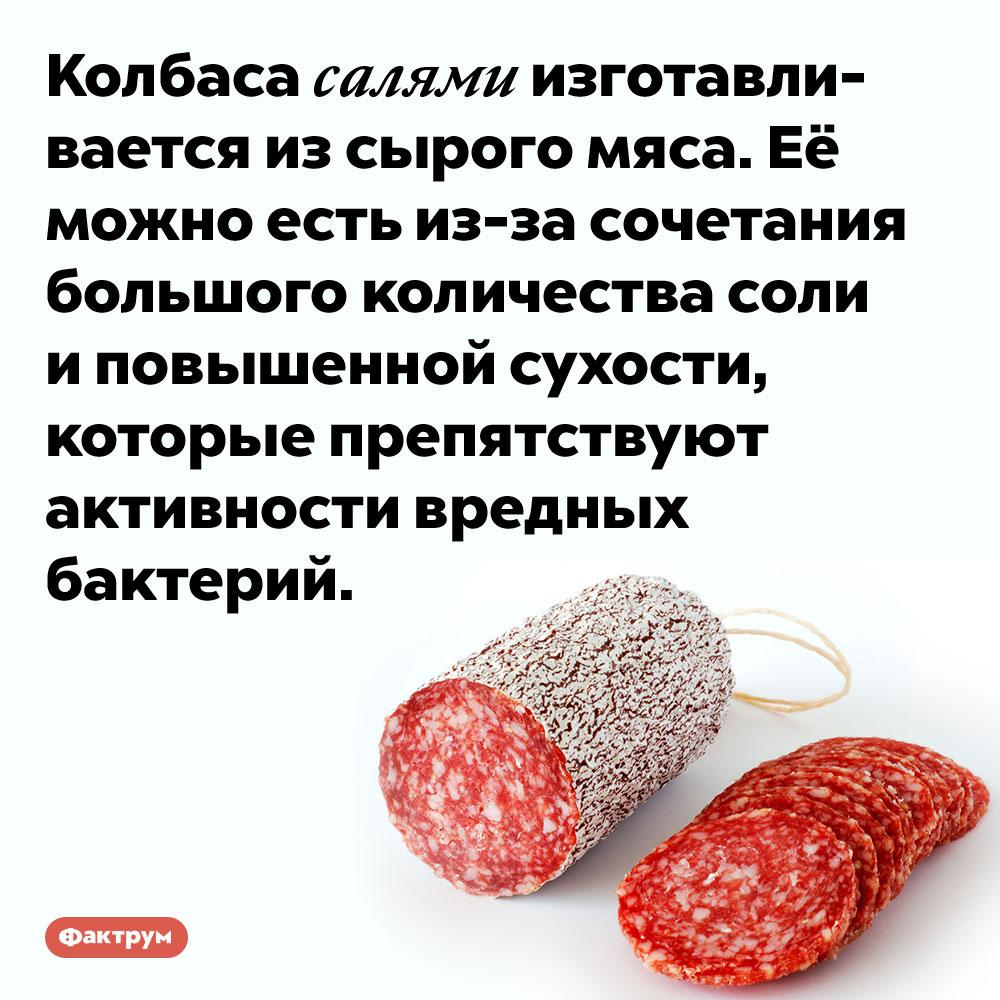 Салями состоит изсырого мяса. Колбаса салями изготавливается из сырого мяса. Её можно есть из-за сочетания большого количества соли и повышенной сухости, которые препятствуют активности вредных бактерий.