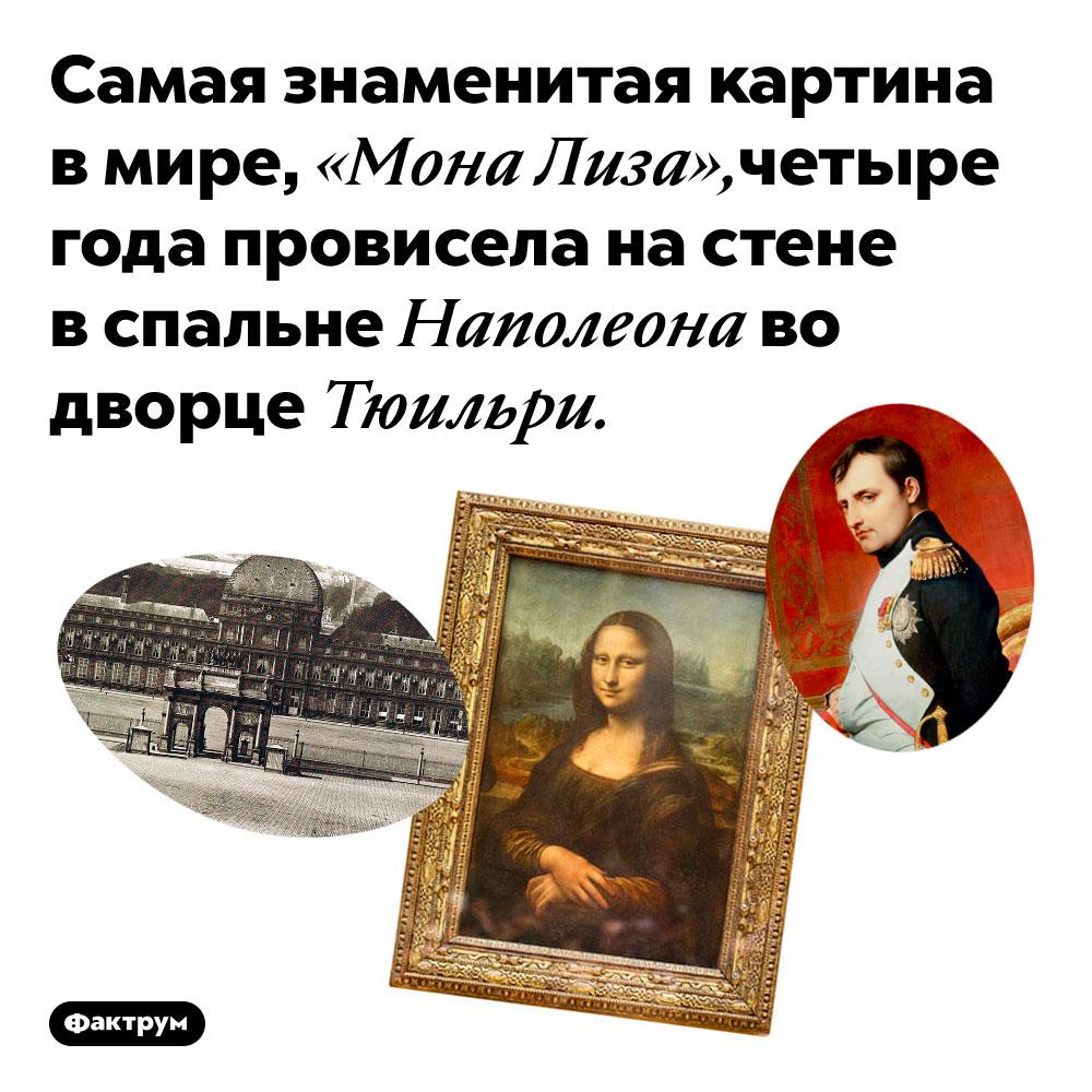 «Мона Лиза» висела вспальне Наполеона. Самая знаменитая картина в мире, «Мона Лиза», четыре года провисела на стене в спальне Наполеона во дворце Тюильри.