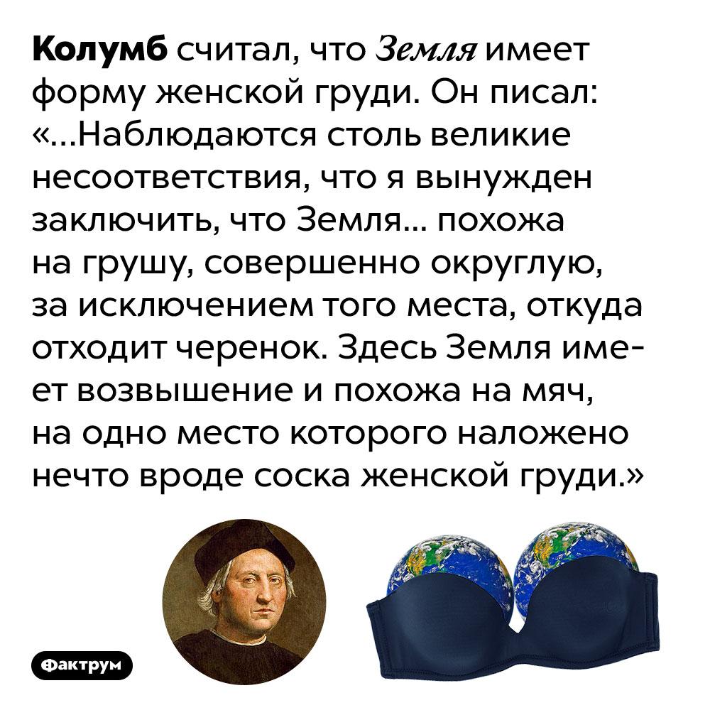 Помнению Колумба, Земля имеет форму груди. Колумб считал, что Земля имеет форму женской груди. Он писал: «…Наблюдаются столь великие несоответствия, что я вынужден заключить, что Земля... похожа на грушу, совершенно округлую, за исключением того места, откуда отходит черенок. Здесь Земля имеет возвышение и похожа на мяч, на одно место которого наложено нечто вроде соска женской груди.»