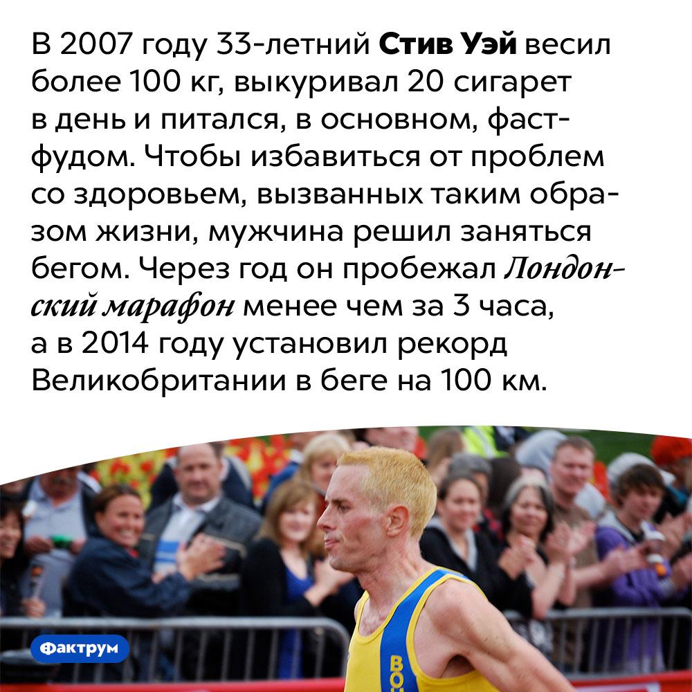 Стив Уэй начал заниматься бегом после 30лет иввесе 100кг, ачерез год пробежал марафон. В 2007 году 33-летний Стив Уэй весил более 100 кг, выкуривал 20 сигарет в день и питался, в основном, фаст-фудом. Чтобы избавиться от проблем со здоровьем, вызванных таким образом жизни, мужчина решил заняться бегом. Через год он пробежал Лондонский марафон менее чем за 3 часа, а в 2014 году установил рекорд Великобритании в беге на 100 км.