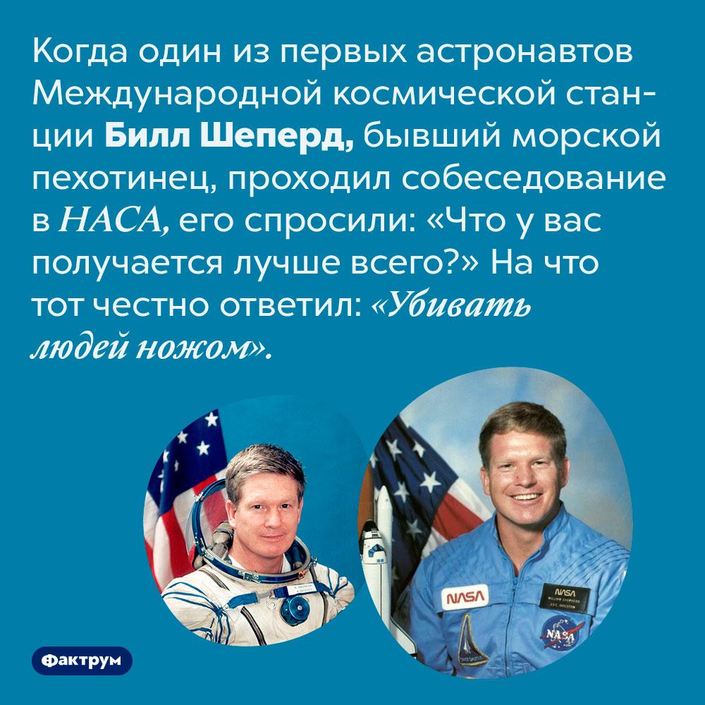 Билл Шеперд, один изпервых астронавтов МКС, при устройстве наработу главным своим навыком назвал убийство при помощи ножа. Когда один из первых астронавтов Международной космической станции Билл Шеперд, бывший морской пехотинец, проходил собеседование в НАСА, его спросили: «Что у вас получается лучше всего?» На что тот честно ответил: «Убивать людей ножом».