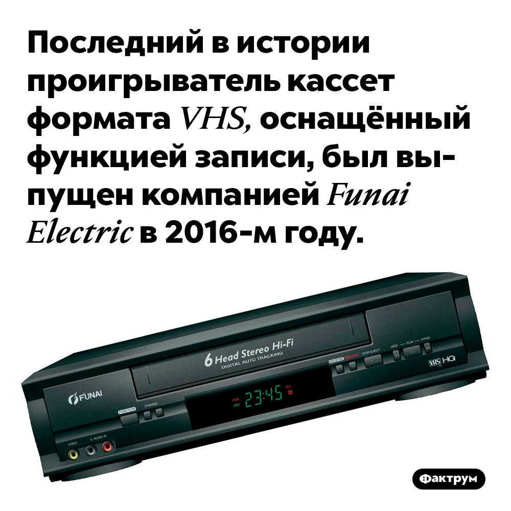 Последний видеомагнитофон свозможностью записи накассеты VHS был выпущен в2016-м году. Последний в истории проигрыватель кассет формата VHS, оснащённый функцией записи, был выпущен компанией Funai Electric в 2016-м году.