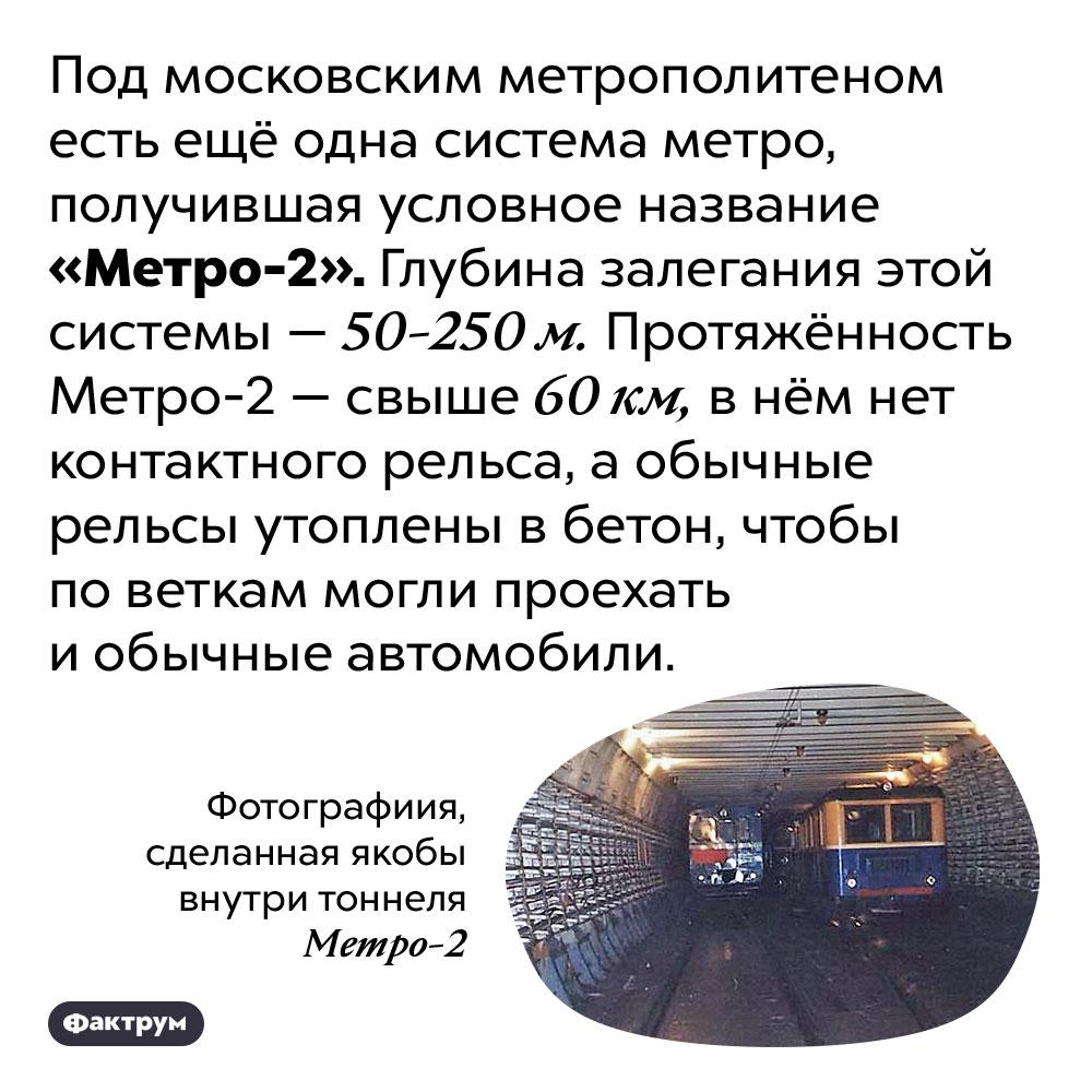 Под московским метро есть Метро-2. Под московским метрополитеном есть ещё одна система метро, получившая условное название «Метро-2». Глубина залегания этой системы — 50-250 м. Протяжённость Метро-2 — свыше 60 км, в нём нет контактного рельса, а обычные рельсы утоплены в бетон, чтобы по веткам могли проехать и обычные автомобили.