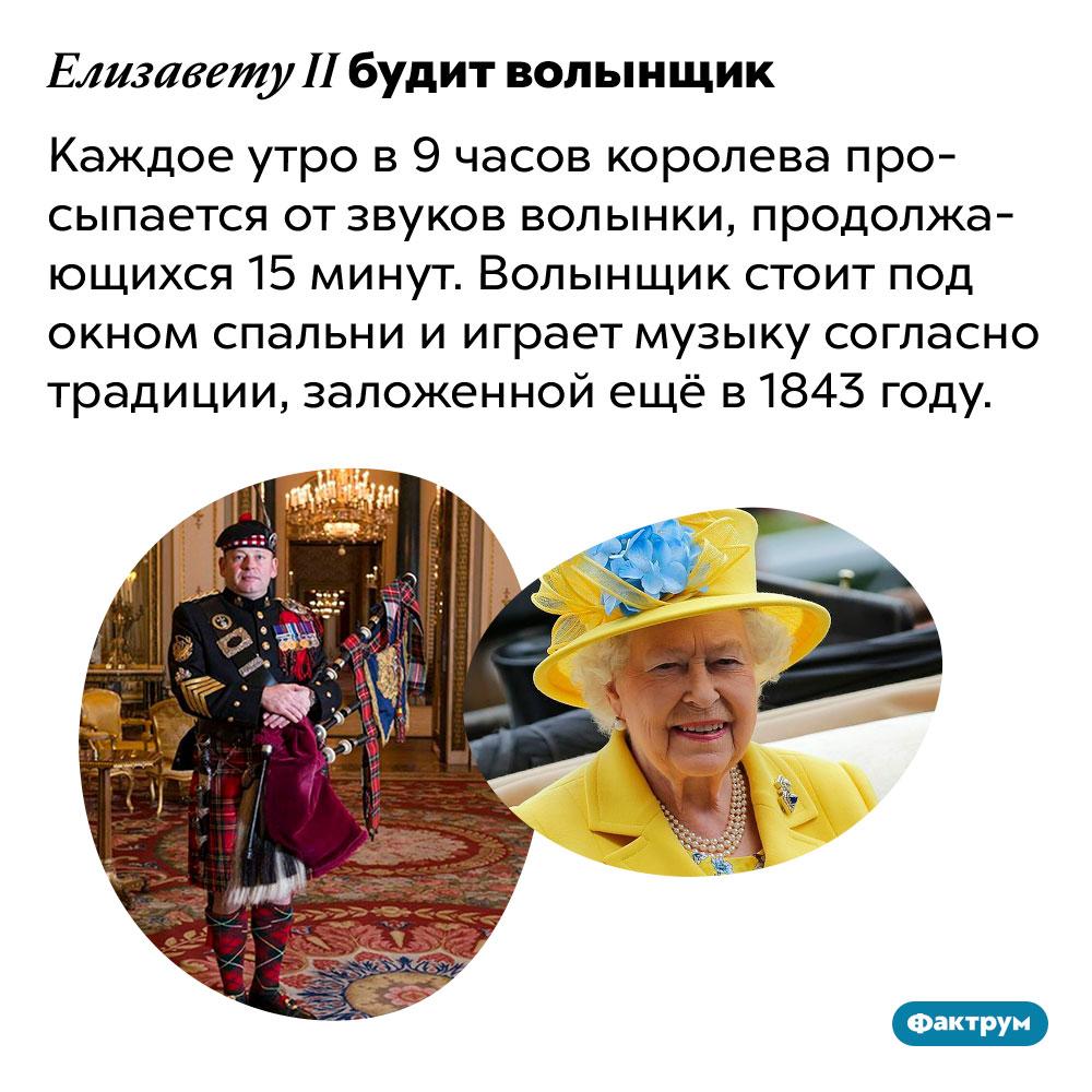 Елизавету II будит волынщик. Каждое утро в 9 часов королева просыпается от звуков волынки, продолжающихся 15 минут. Волынщик стоит под окном спальни и играет музыку согласно традиции, заложенной ещё в 1843 году.