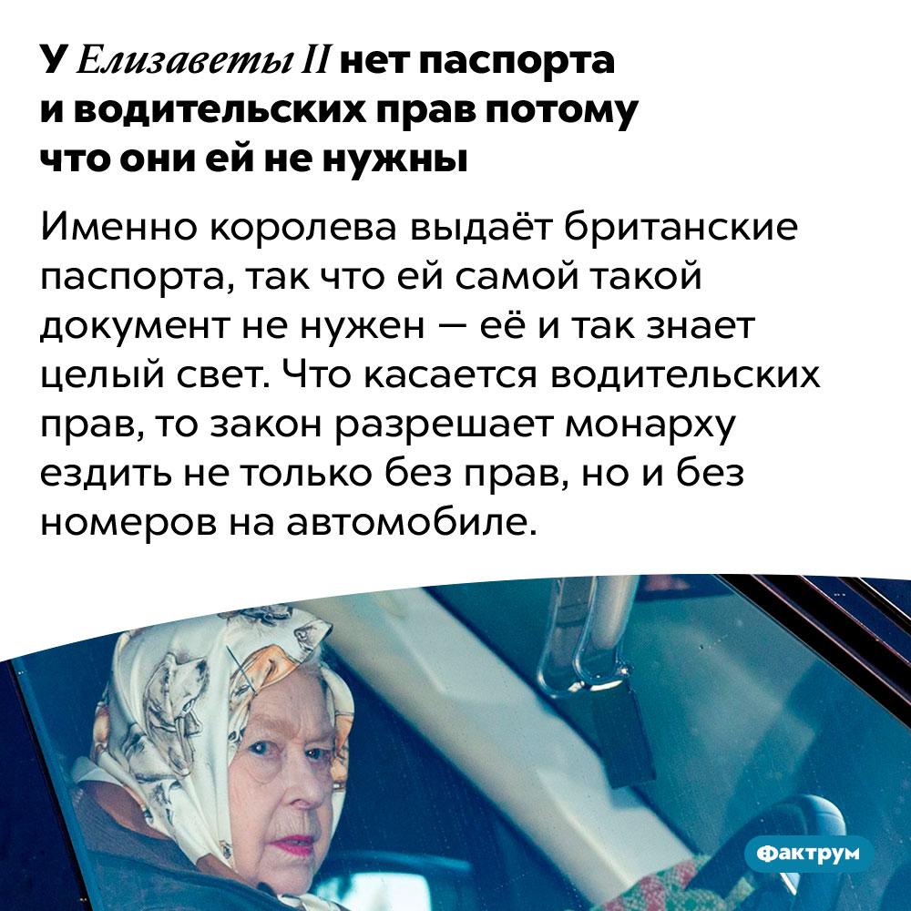 У ЕлизаветыII нет паспорта иводительских прав потому что они ей ненужны. Именно королева выдаёт британские паспорта, так что ей самой такой документ не нужен — её и так знает целый свет. Что касается водительских прав, то закон разрешает монарху ездить не только без прав, но и без номеров на автомобиле.