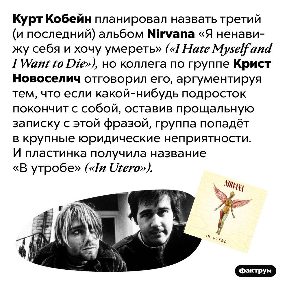 Курт Кобейн хотел назвать третий альбом Nirvana «Я ненавижу себя ихочу умереть». Курт Кобейн планировал назвать третий (и последний) альбом Nirvana «Я ненавижу себя и хочу умереть» («I Hate Myself and I Want to Die»), но коллега по группе Крист Новоселич отговорил его, аргументируя тем, что если какой-нибудь подросток покончит с собой, оставив прощальную записку с этой фразой, группа попадёт в крупные юридические неприятности. И пластинка получила название «В утробе» («In Utero»).