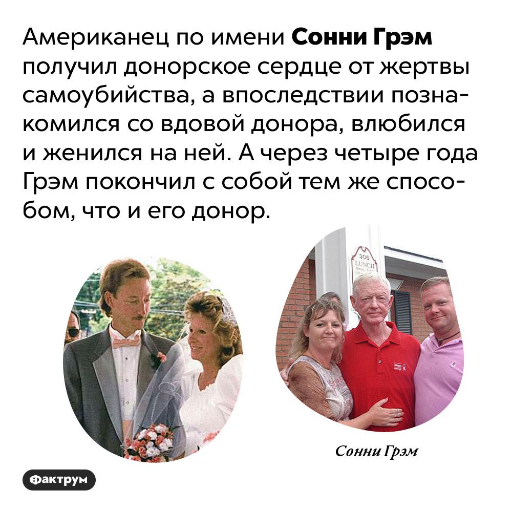 Мужчина получил вместе сдонорским сердцем жену исмерть своего донора. Один мужчина получил донорское сердце от жертвы самоубийства, а впоследствии познакомился со вдовой донора, влюбился и женился на ней. А через четыре года покончил с собой тем же способом, что и донор.