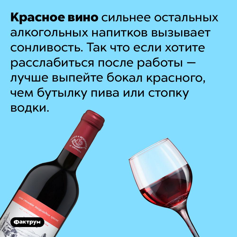 Красное вино сильнее остальных алкогольных напитков вызывает сонливость. Так что если хотите расслабиться после работы — лучше выпейте бокал красного, чем бутылку пива или стопку водки.