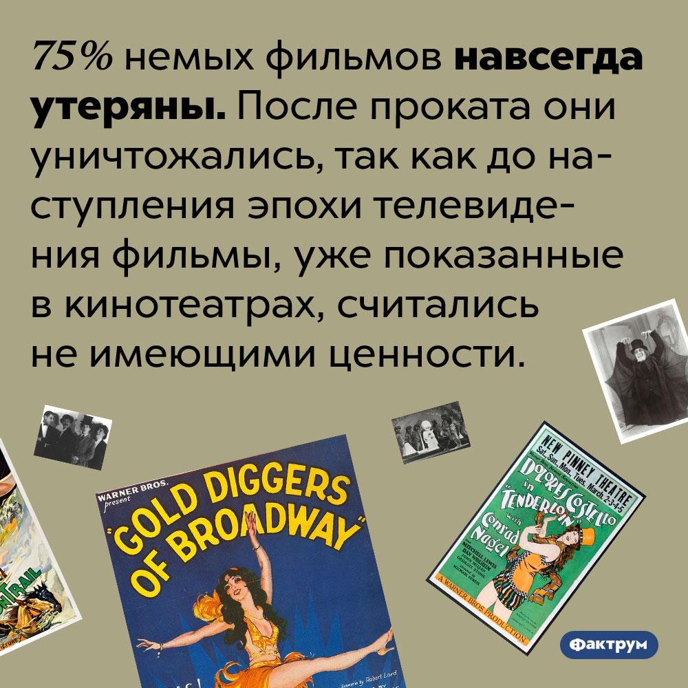 75% немых фильмов были уничтожены после показа вкинотеатрах. 75% немых фильмов навсегда утеряны. После проката они уничтожались, так как до наступления эпохи телевидения фильмы, уже показанные в кинотеатрах, считались не имеющими ценности.