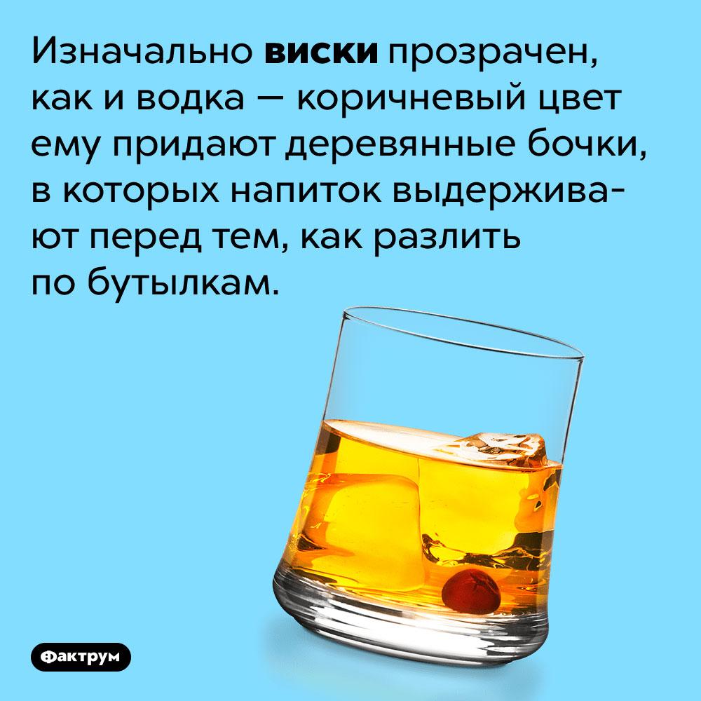 Изначально виски прозрачен, как иводка. Коричневый цвет ему придают деревянные бочки, в которых напиток выдерживают перед тем, как разлить по бутылкам.