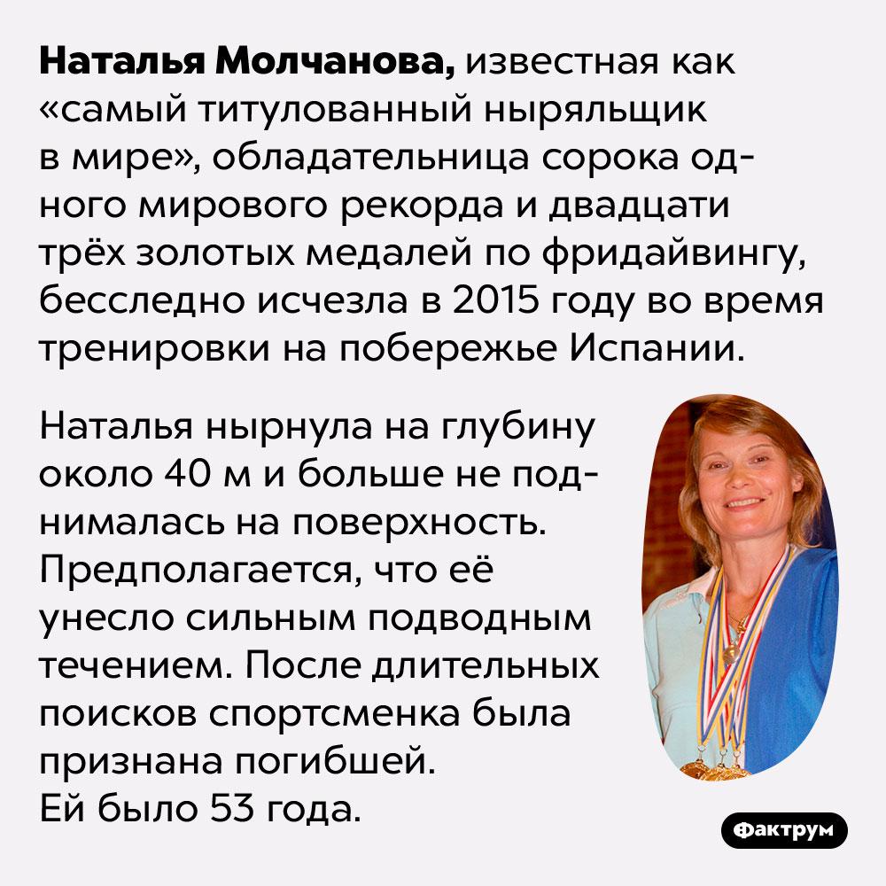 Российская спортсменка Наталья Молчанова была самым титулованным ныряльщиком вмире. Наталья Молчанова, известная как «самый титулованный ныряльщик в мире», обладательница сорока одного мирового рекорда и двадцати трёх золотых медалей по фридайвингу, бесследно исчезла в 2015 году во время тренировки на побережье Испании.   Наталья нырнула на глубину около 40 м и больше не поднималась на поверхность. Предполагается, что её унесло сильным подводным течением. После длительных поисков спортсменка была признана погибшей. Ей было 53 года.