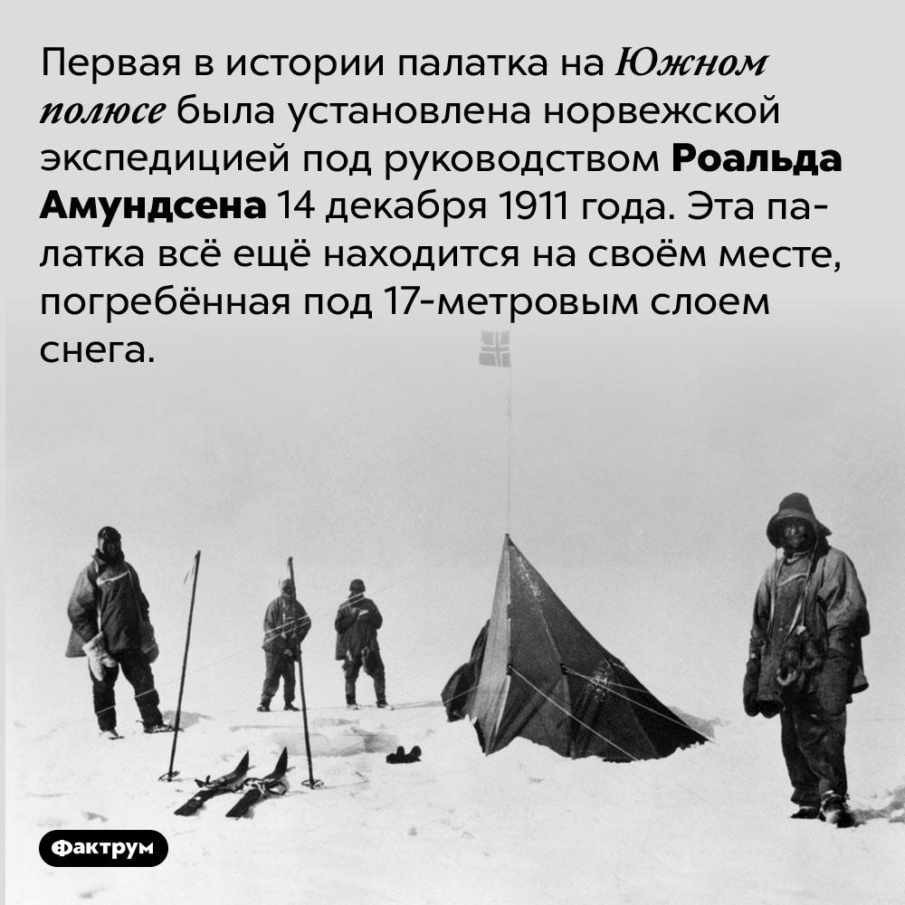 Первая в истории палатка наЮжном полюсе стоит там уже более ста лет. Первая в истории палатка на Южном полюсе была установлена норвежской экспедицией под руководством Роальда Амундсена 14 декабря 1911 года. Эта палатка всё ещё находится на своём месте, погребённая под 17-метровым слоем снега.