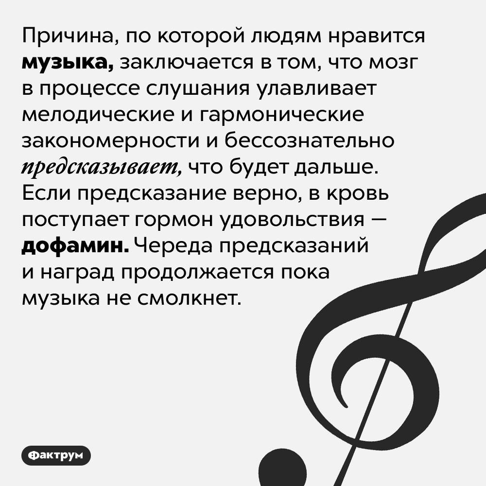 Почему люди любят музыку?. Причина, по которой людям нравится музыка, заключается в том, что мозг в процессе слушания улавливает мелодические и гармонические закономерности и бессознательно предсказывает, что будет дальше. Если предсказание верно, в кровь поступает гормон удовольствия — дофамин. Череда предсказаний и наград продолжается пока музыка не смолкнет.