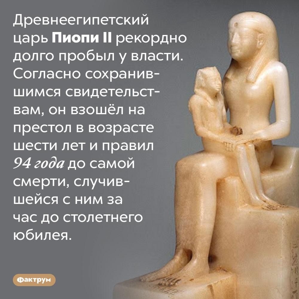 Древнеегипетский царь ПиопиII правил 94года. Древнеегипетский царь Пиопи II рекордно долго пробыл у власти. Согласно сохранившимся свидетельствам, он взошёл на престол в возрасте шести лет и правил 94 года до самой смерти, случившейся с ним за час до столетнего юбилея.