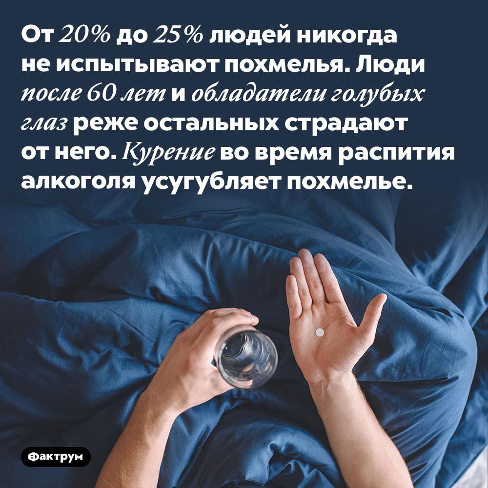Примерно четверть людей неиспытывают похмелья. От 20% до 25% людей никогда не испытывают похмелья. Люди после 60 лет и обладатели голубых глаз реже остальных страдают от него. Курение во время распития алкоголя усугубляет похмелье.