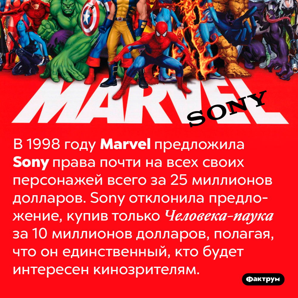 В1990-х Marvel хотела продать Sony права напочти всех супергероев, ноSony купила только Человека-паука. В 1998 году Marvel предложила Sony права почти на всех своих персонажей всего за 25 миллионов долларов. Sony отклонила предложение, купив только Человека-паука за 10 миллионов долларов, полагая, что он единственный, кто будет интересен кинозрителям.
